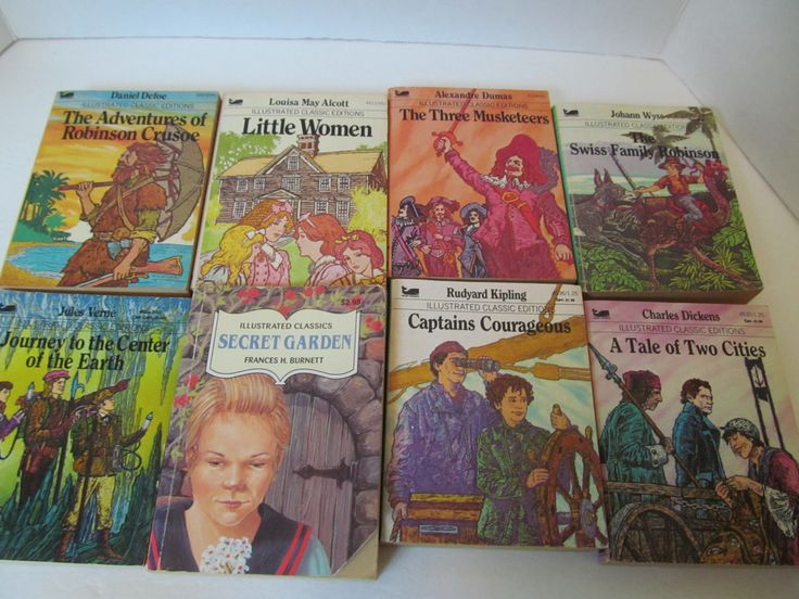 ILLUSTRATED CLASSIC BOOKS - Set of 8-Robinson Crusoe, Three Musketeers, Little Women, Journey to the Center of the Earth, Secret Garden by CellarDeals on Etsy