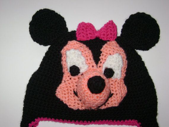 Minnie and Mickey crochet hats.