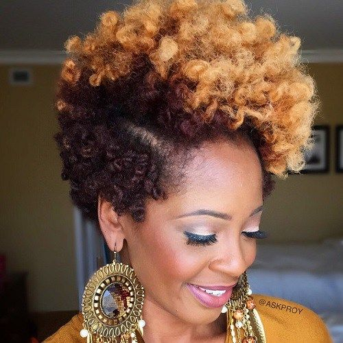 Black And Blonde Short Natural Hairstyle                                                                                                                                                                                 More