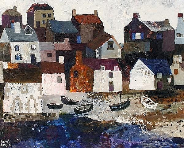 Brenda King (British, born 1934) Five boats on a Breton beach