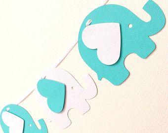Guirnalda de rosa y gris elefante. Bebé ducha por MyPaperPlanet