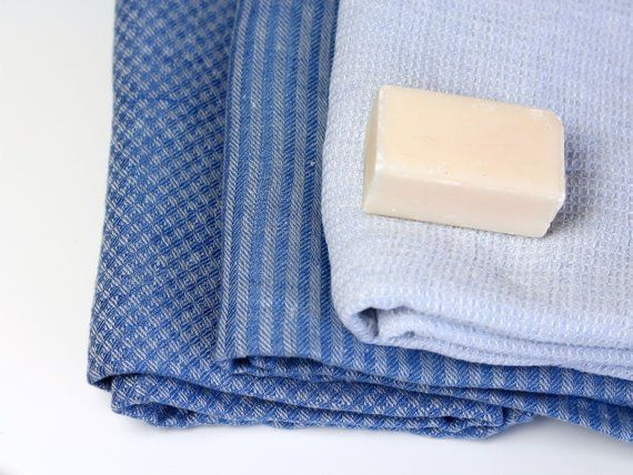 Blue Linen Bath Towels Softened Linen Beach Towels 100 Linen Travel Towel Textured Waffle Softened Bath Sheets Flax Sauna Towel
