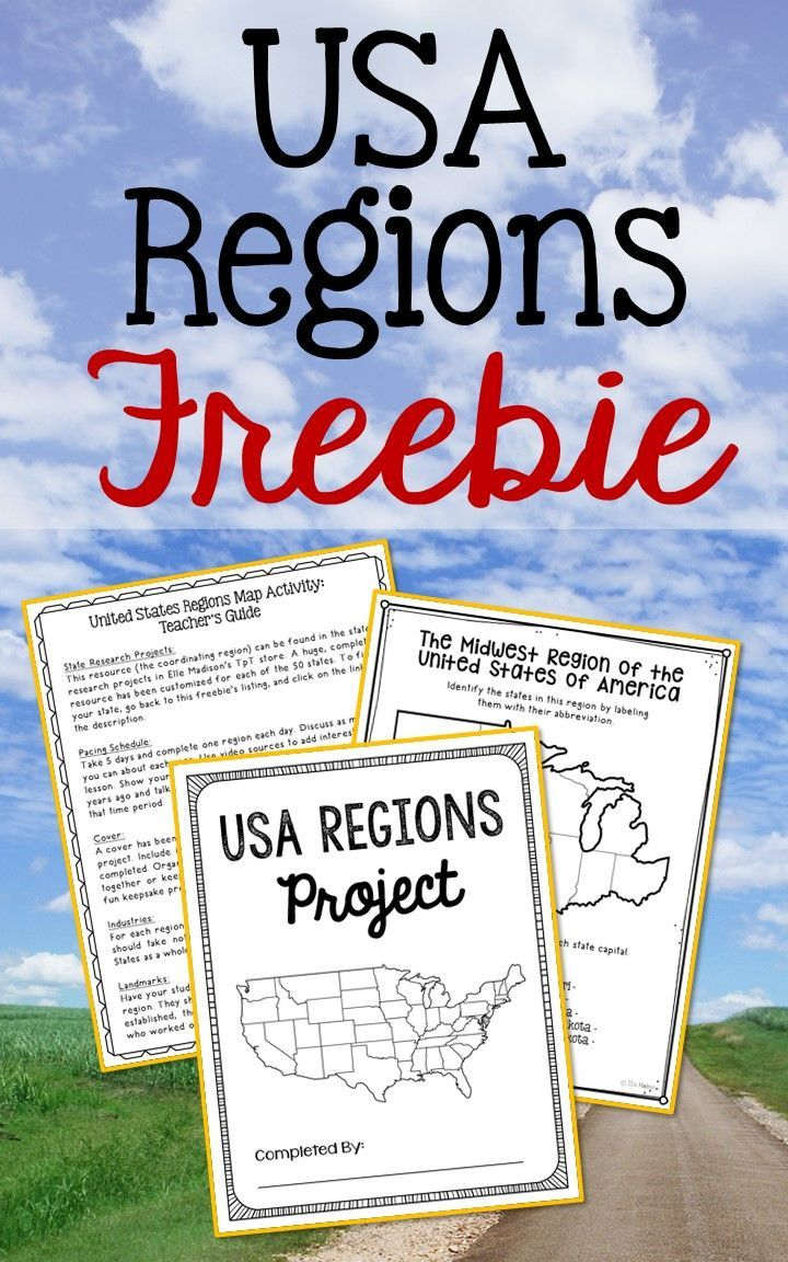 This FREE resource is a stand alone project that can be turned into a FULL WEEK worth of activities. You'll also find the region maps in Elle Madison's complete state history projects that can be used all year long!!