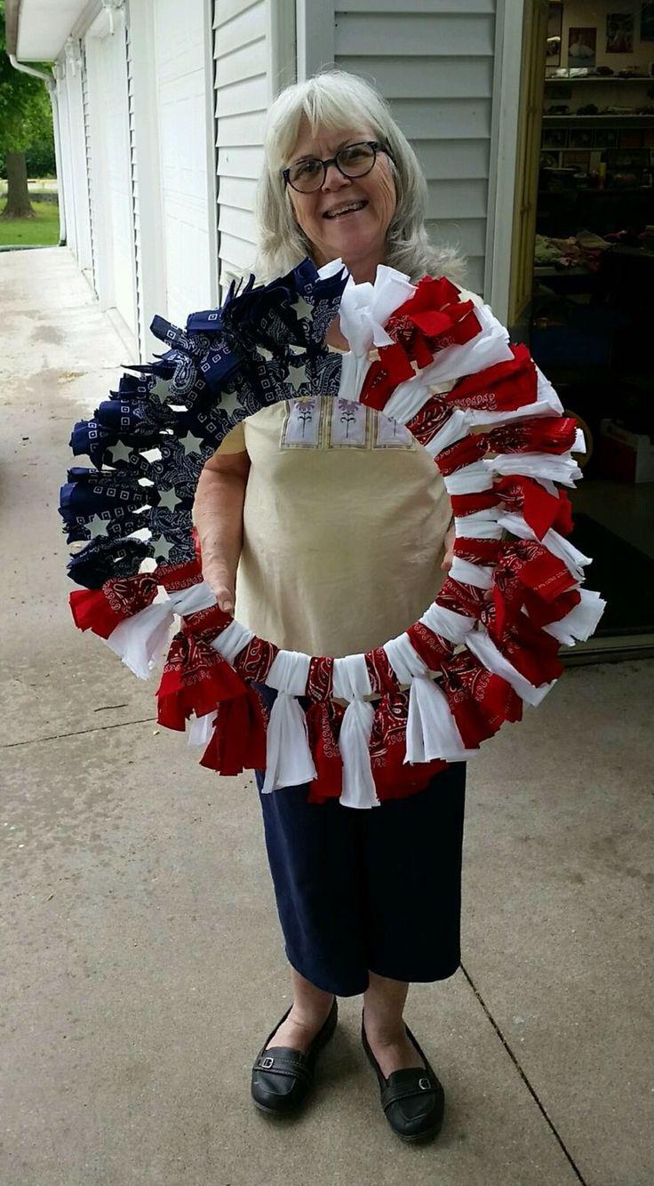 Red, White and Blue Bandana Flag Wreath Craft Idea ...  Bandana Wreath Directions