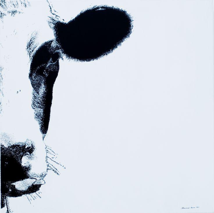 """""""in front1"""", acryl """"pixel"""", leinwand 80X80                                                     bernhard kaeser 2013 Acryl auf Leinwand , Kunst, malerei, Leinwand, painting, Cow, Kuh, Animal"""