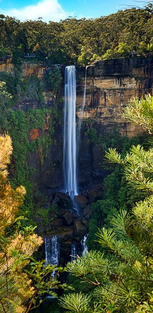 Fitzroy Falls in Australia; ...notice the people on a platform on the very top left...