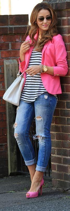 Street style,  Denim, pink blazer and stripes
