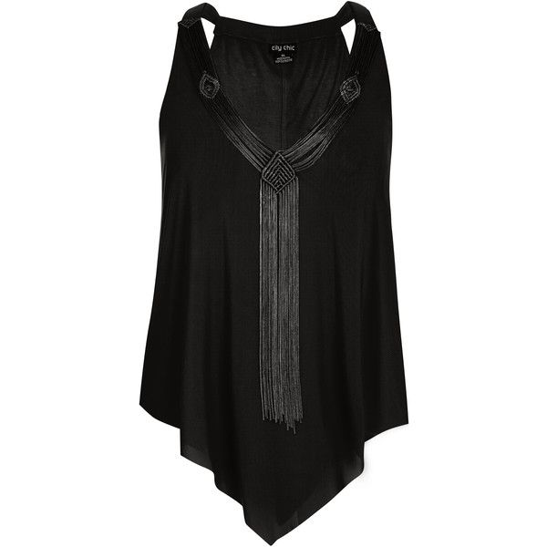 Black Macrame Fringe Plus Size Top ($69) ❤ liked on Polyvore featuring tops, boho crochet top, plus size bohemian tops, plus size v neck tops, crochet tops and crochet beach top
