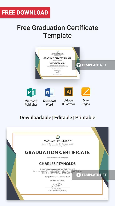 Free graduation certificate template word doc psd