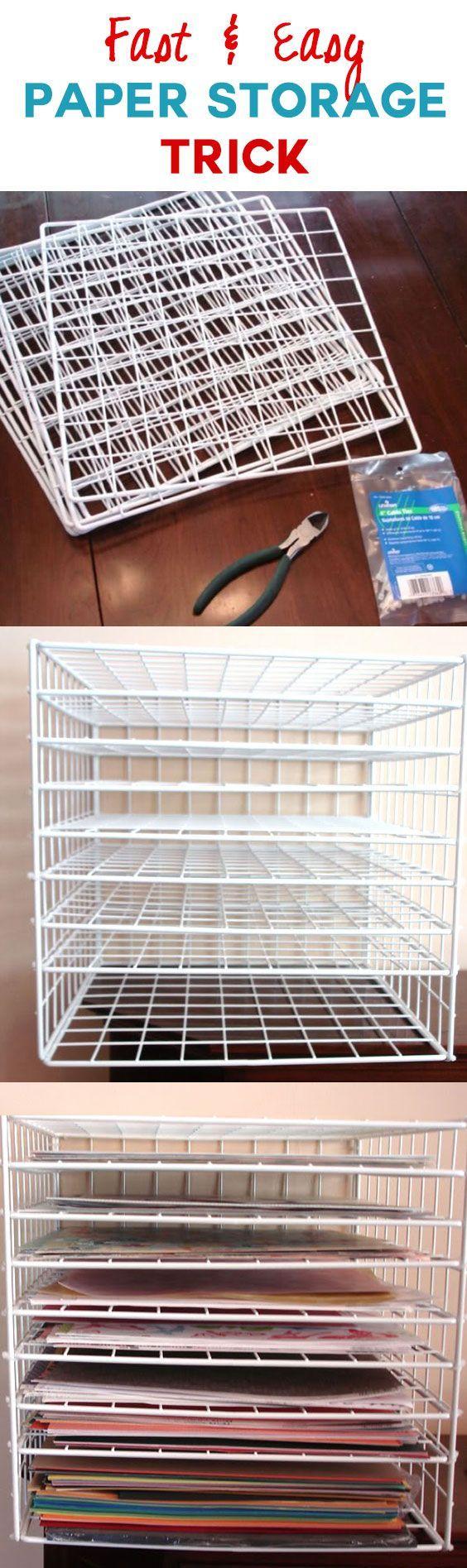 Easy Paper Storage Trick   Craft Organization Idea   Clever Storage Solution