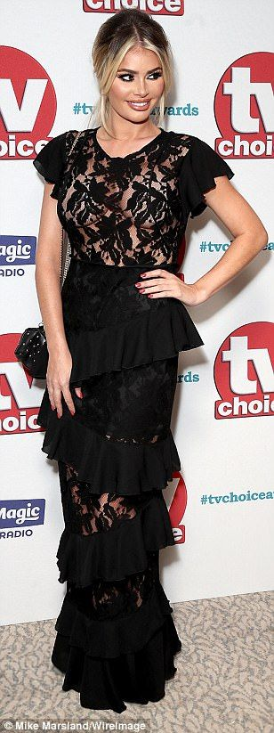 Naked ambition: ITVBe favourite Chloe Sims opted to go braless under her sheer lace bodice