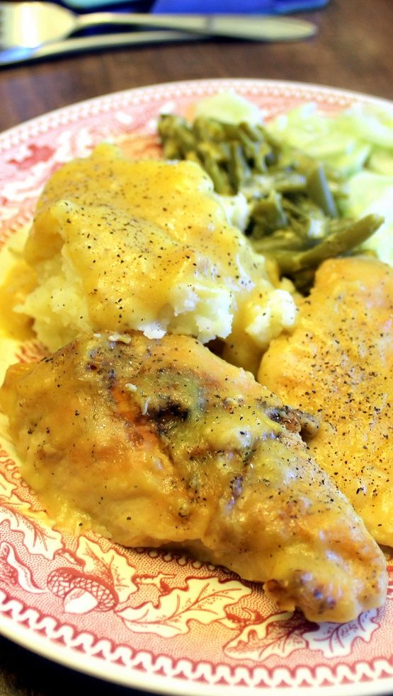 """Old School"" Chicken with Chicken Gravy  This is Soooo Old School.  Only two ingredients, a few hours in the crock pot and you have the most tender, juicy and delicious chicken... PLUS it makes it's own gravy.  Simple in every way yet amazingly old school delicious and PERFECT!"