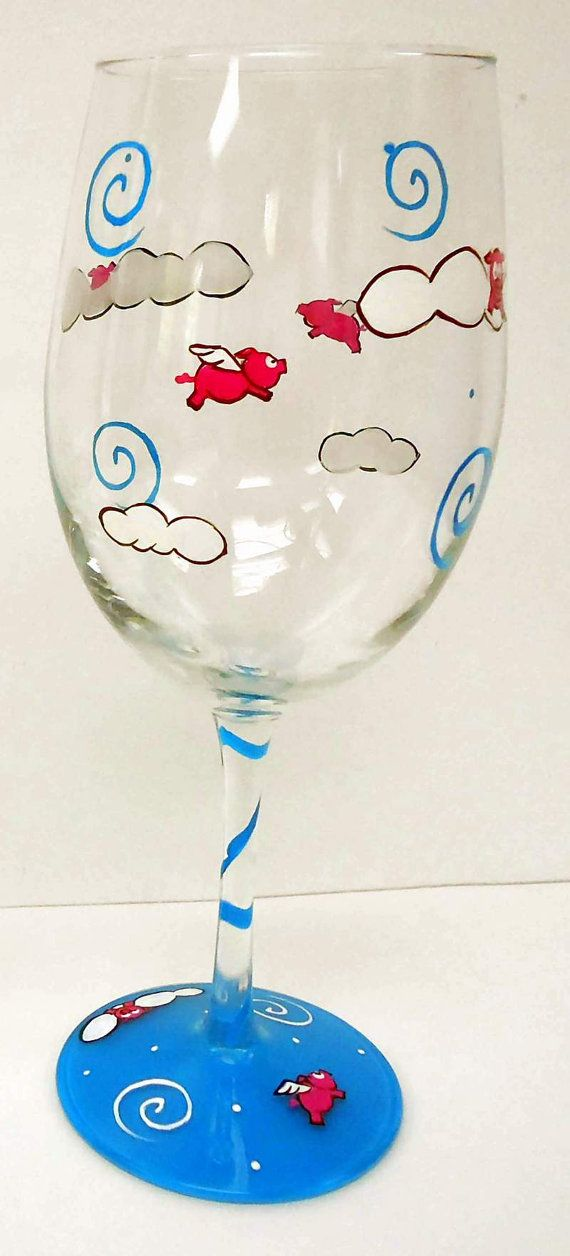 Flying Pig Wine Glass  painted wine glass  by Pendragonartworks, $20.00