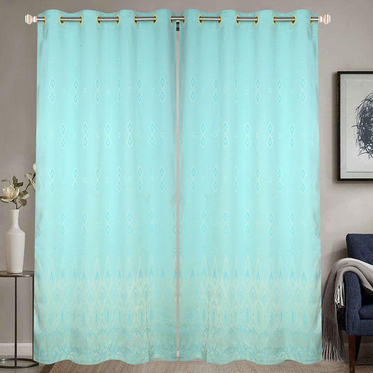 Sky Blue Door Curtain With Unique Geometric Design