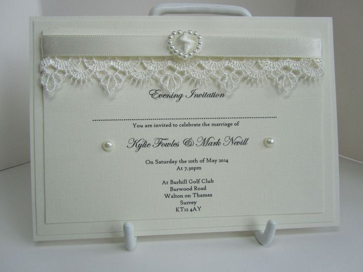 Handmade Wedding Invitation Sample, Vintage Lace and Pearls Evening Invitation