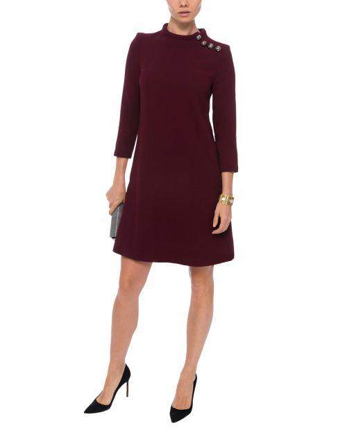 Eloise Plum Wool Crepe Dress | Goat | Halsbrook