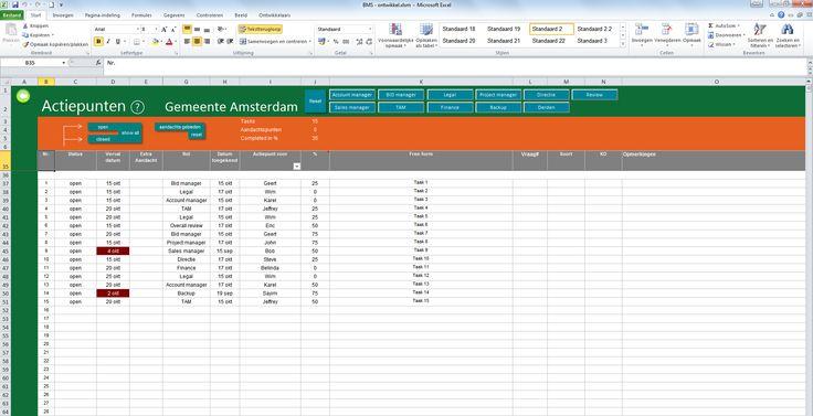 Sales automation - Tool om complexe Tender- en sales trajecten op te pakken - overzicht takenlijst + filters