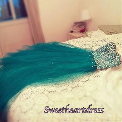 Beautiful green tulle long sweetheart dress with sequins top, ball gown, prom dresses for teens #coniefox #2016prom