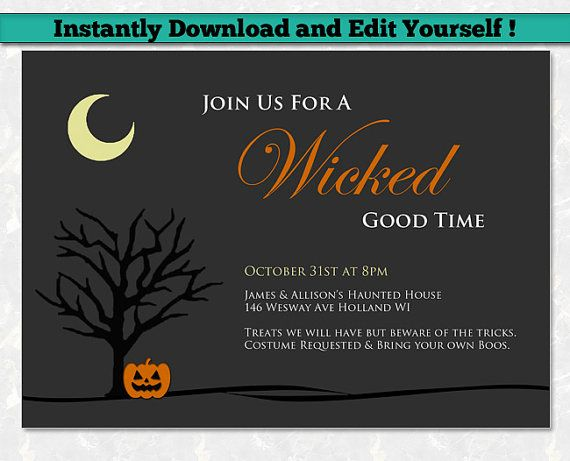 Halloween Party Invitation Template Editable PDF - A wicked good time - Simple…