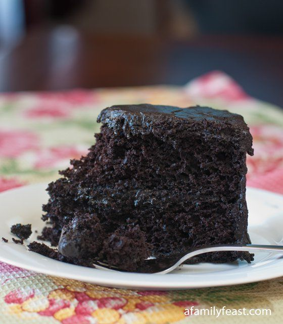 A delicous black midnight chocolate cake - an old family recipe that has been passed down through generations!