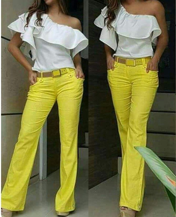 22d5bfcd5640 Costura | Moda en 2019 | Ropa de moda, Blusas y Pantalones amarillos