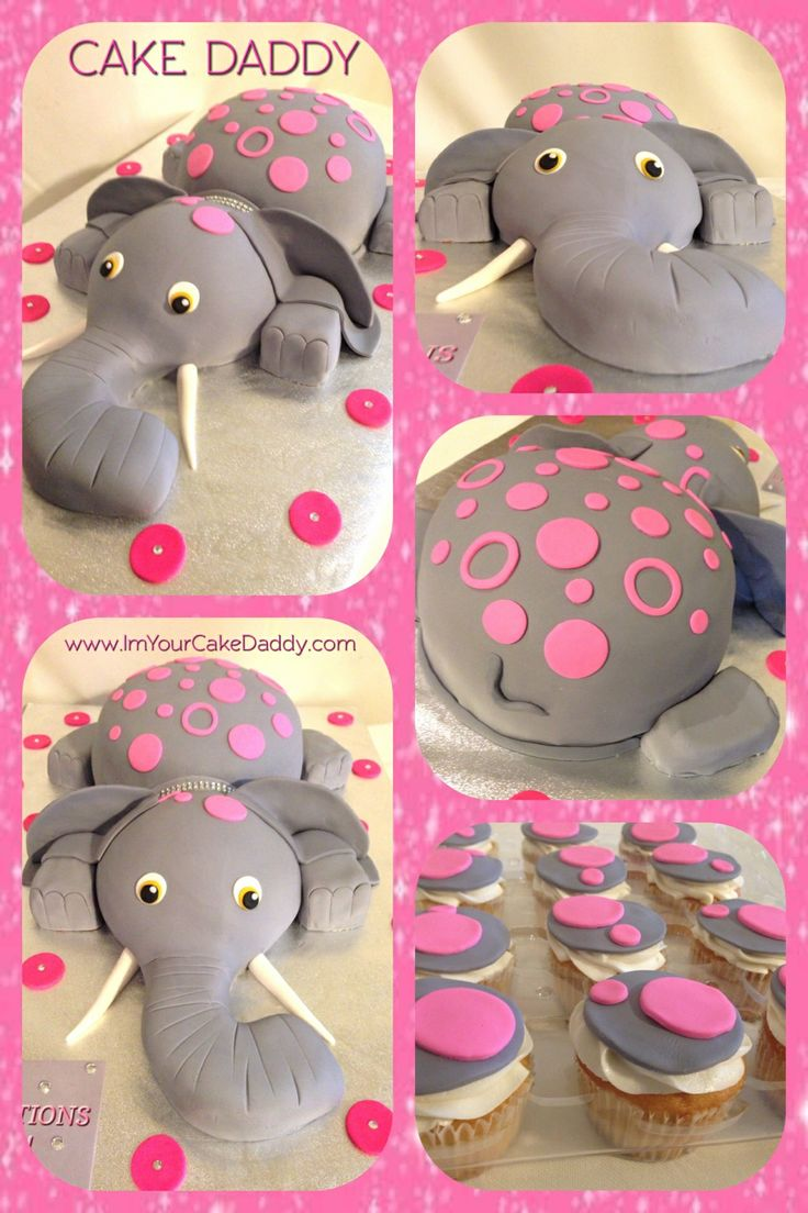elephant baby shower cake and cupcakes