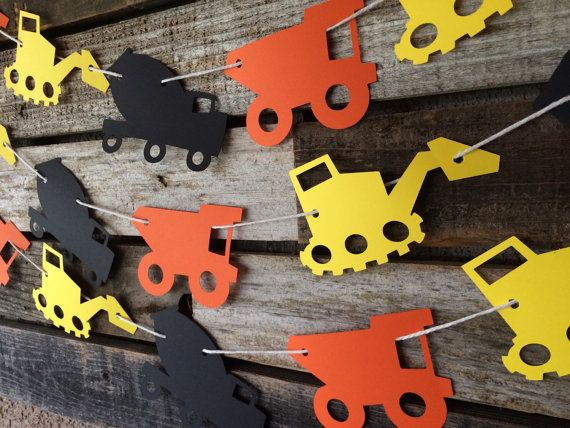 Construction Party Garland - Construction Banner, Baby Shower, Photo Prop, Birthday Party, First Birthday, Tractors, Dump truck