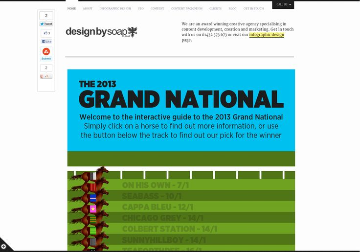 An interactive infographic covering the 2013 Grand National - including the horses running, their odds, their trainers and a whole host of other infor