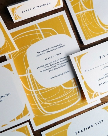 Retro style. Misshapen circles create a mod design on this 1960s-inspired invitation suite.