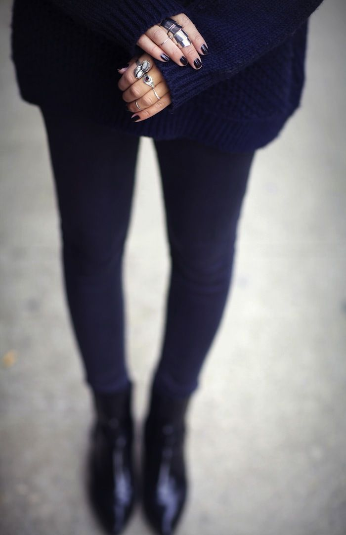 Grunge Chic #oversized #sweater #navy and #black #nails #rings