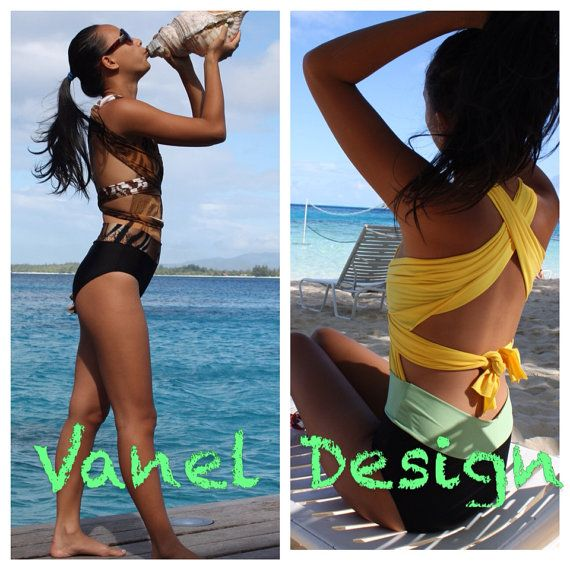 Animal Print One Piece Swimsuit Convertible by VanelDesign on Etsy