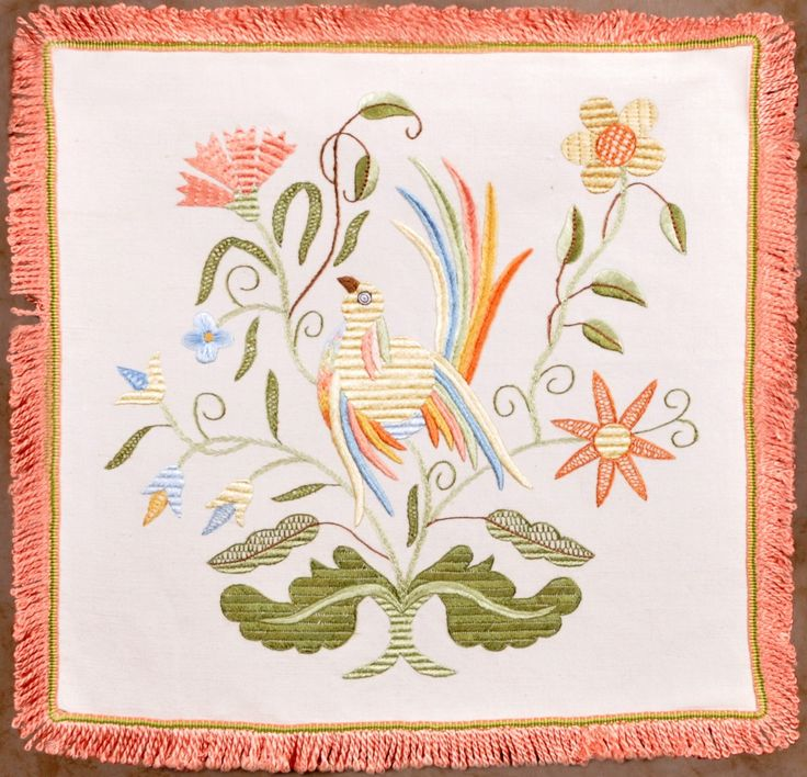 The Bird Vain with Leaves - Silk Embroidery - Bordado de Castelo Branco