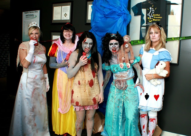 This is kinda creeepy but unique lol! DIY Disney Zombie Princesses halloween costume ideas for a group of women.