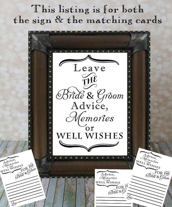 Leave the Bride & Groom Advice, Memories or Well Wishes and Advice Card Set. Reception Table, Wedding Card DIY Printable File. Advice Sign. on Etsy, $15.00