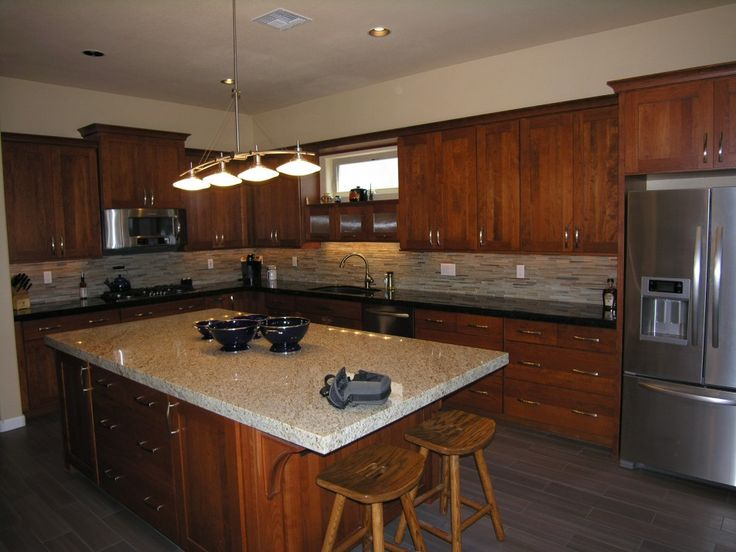Kitchen, Awessome Kitchen Island After Tile Backsplash With Side By Side Refrigerator With Bottom Freezer Plus A Couple Of Wooden Stools Plus Brown Wooden Chest Of Drawers: Awesome Uniquely Kitchen Cabinet Styles