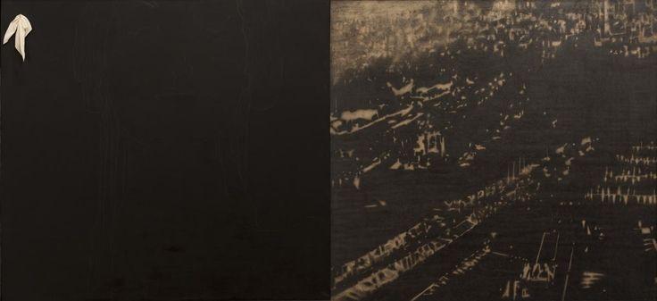 Omar Galliani Tutte le notti di Santa Lucia, 1999 dittico, matita su tavola, cm 200x400