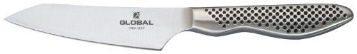 Global GS-58 - 4 1/2 inch, 11cm 25th Anniversary Oriental Utility Knife by Global. $65.95. Thin blades for precision slicing. Blades made of high-tech CROMOVA stainless steel. Stainless-steel handles are molded for comfort and dimpled for safe grip. Face-ground with long taper so edge remains sharp longer. New Global 25th Anniversary (GS-58) 4-1/2-Inch oriental utility knife, packaged in a Global 25th Anniversary logo box with Global lapel pin. This knife is great for c...
