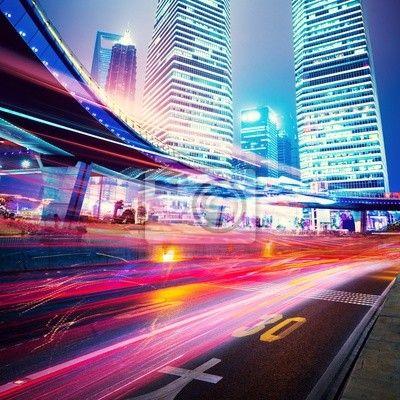 Fototapeta Noční scéna moderního města