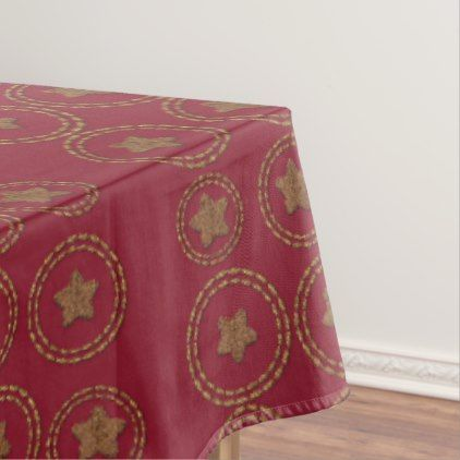Deep Burgundy Red Stars Pattern Holiday Tablecloth - kitchen gifts diy ideas decor special unique individual customized