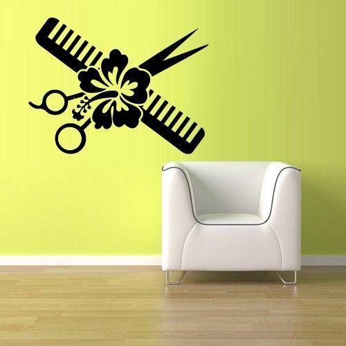 Wall vinyl sticker decals decor haircut scissors comb flower hair salon z863 salon - Stickers salon design ...