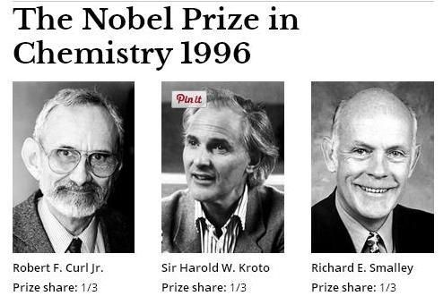 "The Nobel Prize in Chemistry 1996 was awarded jointly to Robert F. Curl Jr., Sir Harold W. Kroto and Richard E. Smalley ""for their discovery of fullerenes""."