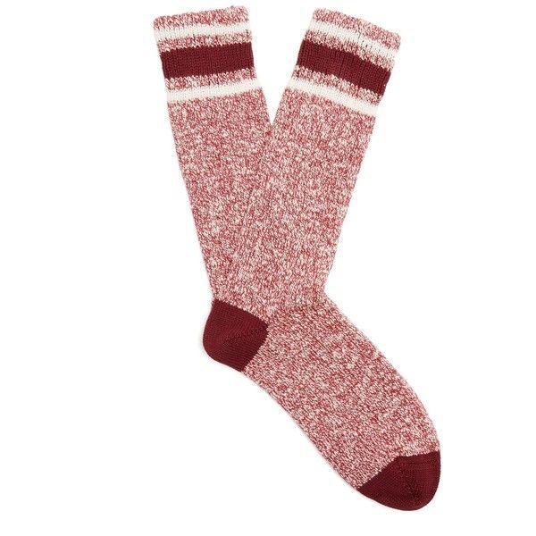 Burberry Striped ribbed-knit cotton socks ($90) ❤ liked on Polyvore featuring intimates, hosiery, socks, burgundy, striped socks, burberry socks, burberry, cream socks and stripe socks