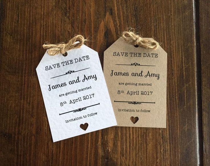 10 Personalised Magnet Wedding Save The Date Vintage/Shabby Chic Rustic Tags