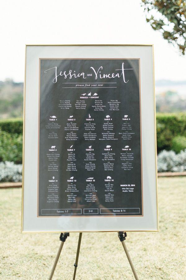 framed seating chart, photo by Sunny 16 Photography http://ruffledblog.com/modern-austin-wedding-with-a-playful-twist #seatingchart #weddingideas