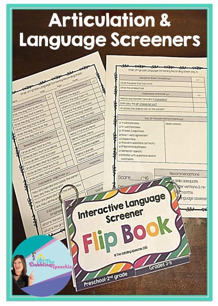 Articulation And Language Screener Flip Books Different