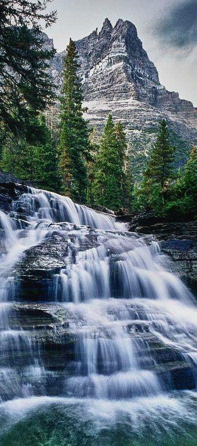 Waterfall in Glacier National Park, Montana, USA