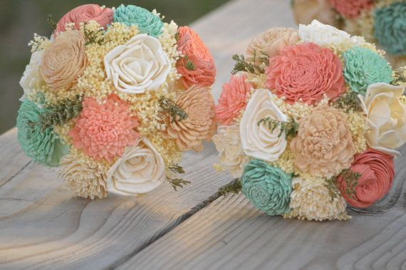 This listing is for a Custom Made to order Wedding Bouquet in my Junior Size with 2 shades of each Mint and Coral with a few tan Sola Flowers