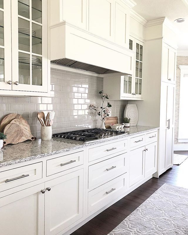 White Kitchen Shaker Cabinets With Grey Subway Tile Backsplash