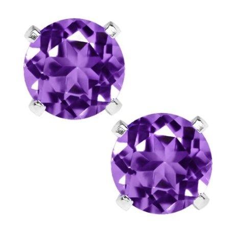 HOT 925 Sterling Silver 6.00MM Purple &White Zircon Earrings Stud Earring gD1oCgsgGJ