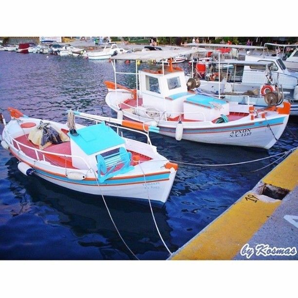 Colors of Greece.  #Instagrampics #sealife  #underwaterfilming #sea #nature #seaviewpics #ilovesea  #sealove #harbor #boats #blue #fishingboats